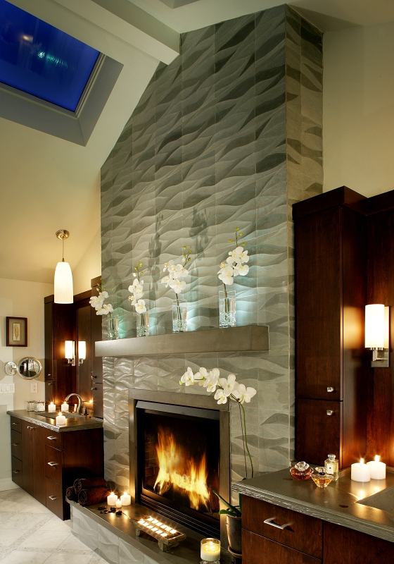 Another stunning modern fireplace tile design from Peter Salerno Inc.