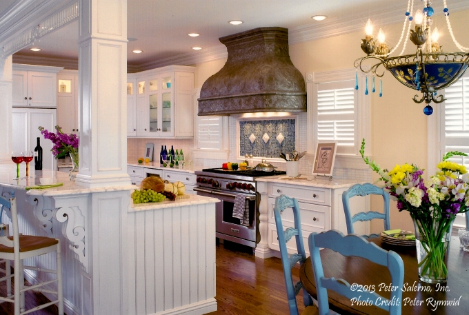 Bright, bold colors accent this Peter Salerno inc. custom kitchen design. (Credit Peter Rymwid)