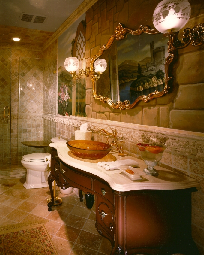 This Peter Salerno Inc. bathroom design features a scenic wall fresco.