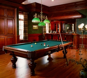 Add another attraction to your man cave to keep guests entertained (like a pool table). (Credit Peter Rymwid, Peter Salerno Inc.)