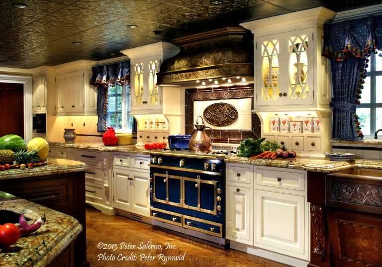 La Cornue range and custom tin range hood from Peter Salerno Inc. (Credit Peter Rymwid)