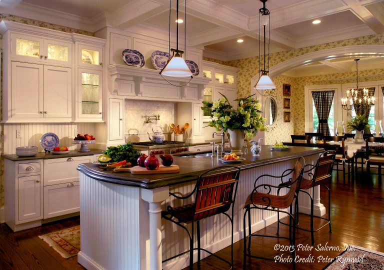 Adding a splash of green (flowers, vegetables, etc.) to a kitchen design is a Peter Salerno hallmark.