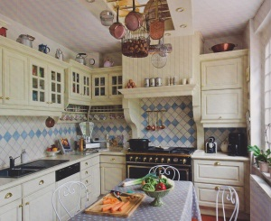 A beautiful painted French kitchen in Oise, Picardie region.