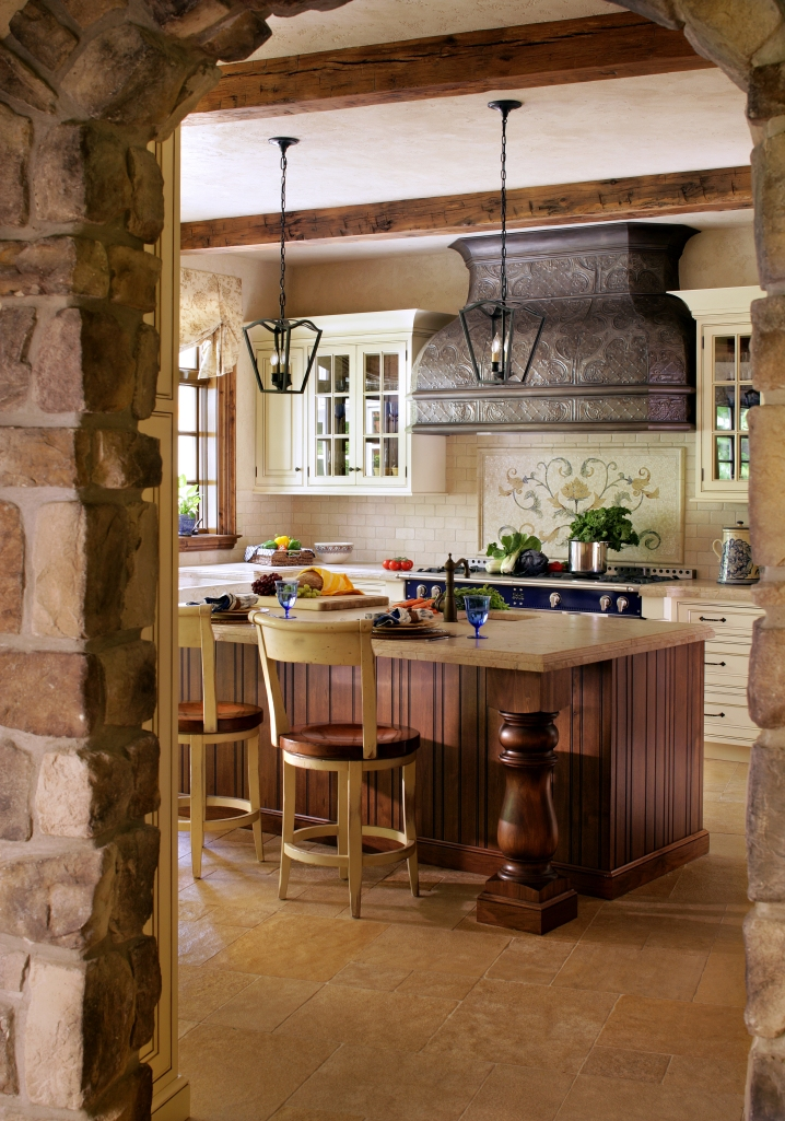 Note the Vence-inspired stonework in our French kitchen.