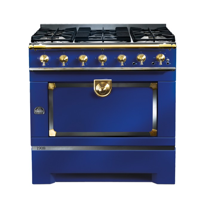 The CornuFé 1908 in striking Dark Navy Blue with polished brass trim.