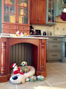 Elliot the Elf cozying up in our showroom's custom dog nook.