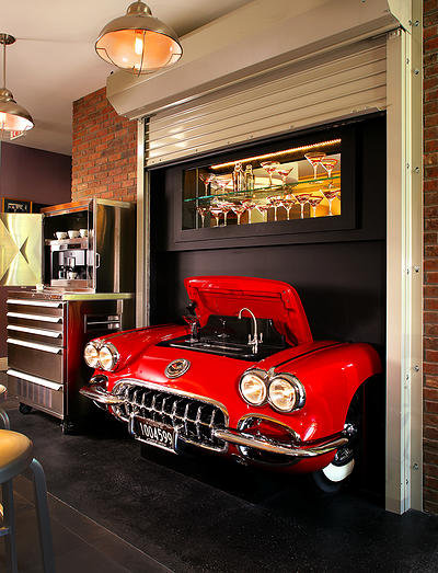 The 1959 Corvette wet bar in Peter Salerno Inc.'s showroom.