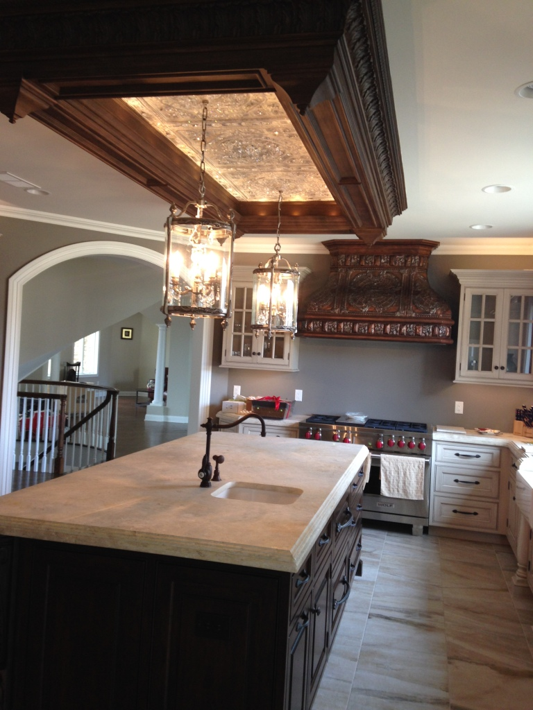 Another view of this reclaimed tin & Swarovski kitchen makeover. (Credit Peter Salerno Inc.)