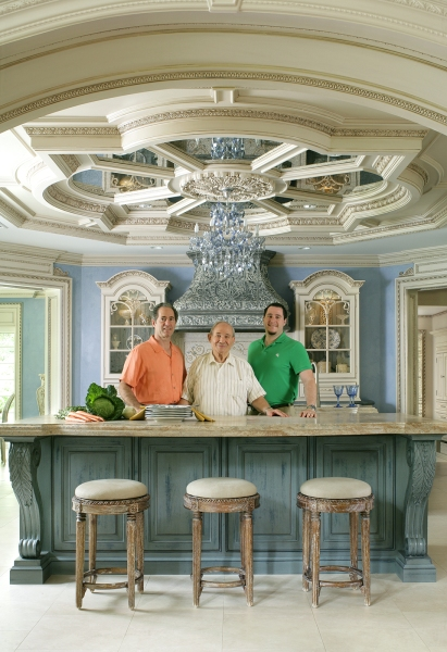 Peter, Ross, and Anthony Salerno in a custom Peter Salerno kitchen. (Credit Peter Rymwid)