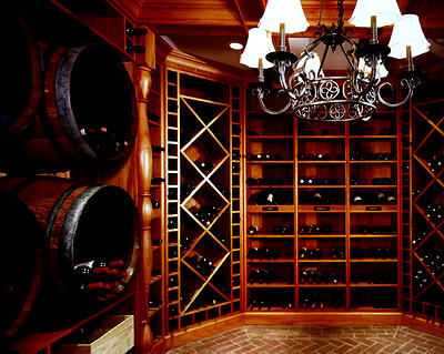 Custom wine cellar from Peter Salerno Inc. Man Cave Classics.