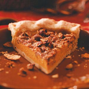 Try this delicious Hazelnut Pumpkin Pie recipe, courtesy of TasteOfHome.com and Marie Rizzio.