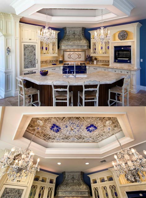 "The gorgeous ""La Cornue"" kitchen in Peter Salerno Inc.'s showroom, adorned with Swarovski crystal."