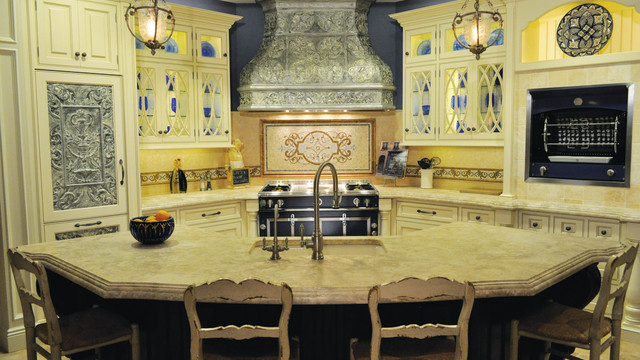 "The ""La Cornue"" showcase kitchen in Peter Salerno's showroom."