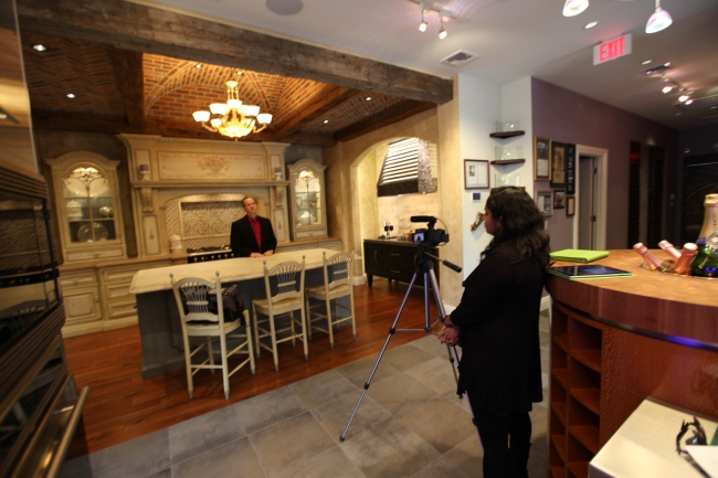 The NKBA's Ash Sukumar films Peter Salerno in his showroom for an upcoming KBIS presentation.