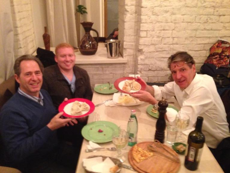 Peter Salerno enjoying a fantastic meal in Moscow.