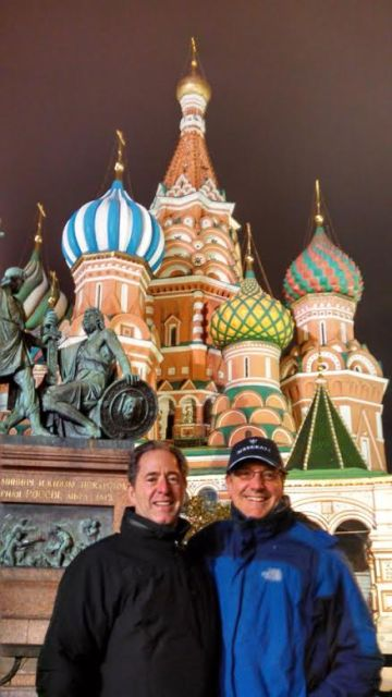 Peter Salerno in front of the Kremlin.