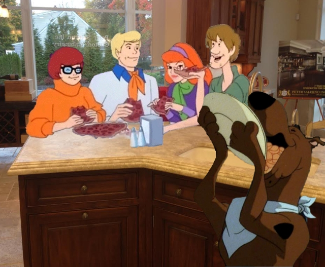 Scooby and the gang having a pizza in the Peter Salerno showroom.