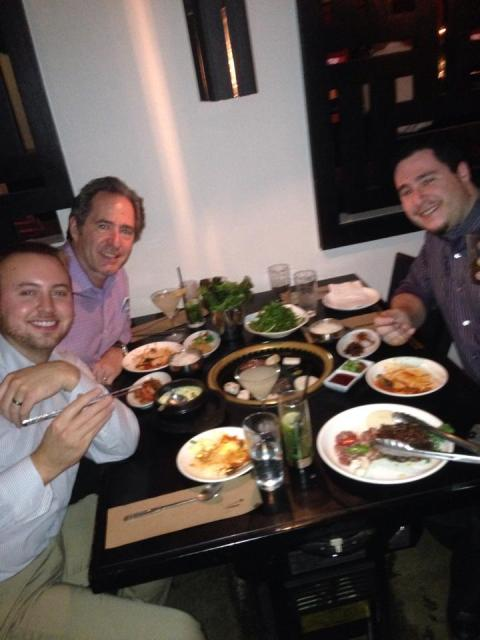 Peter Salerno, Anthony Salerno and Brian Mayer at Do Hwa Korean Restaurant.