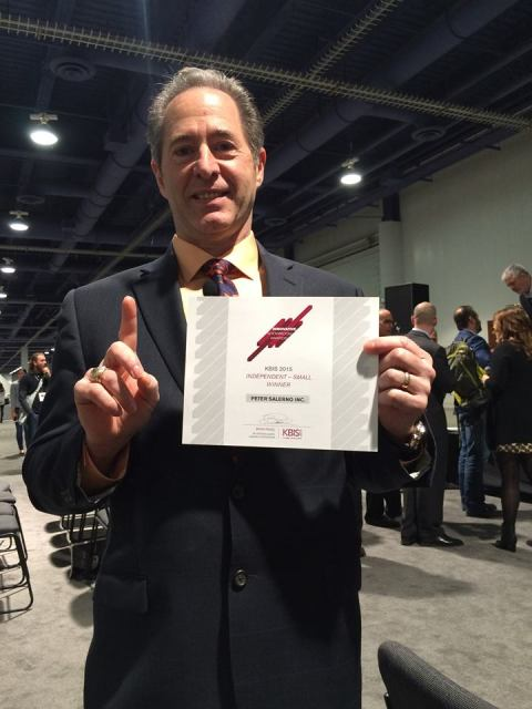 Peter Salerno with the KBIS Innovative Showroom Award - 1st Place, Independent Small Showroom.
