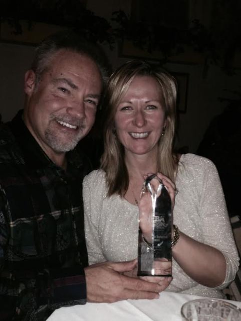 Peter Salerno Inc. clients Tom and Julie Connors, with their NKBA Best Large Kitchen national design award.