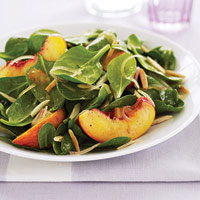 From Delish: a refreshing spinach and nectarine salad recipe.