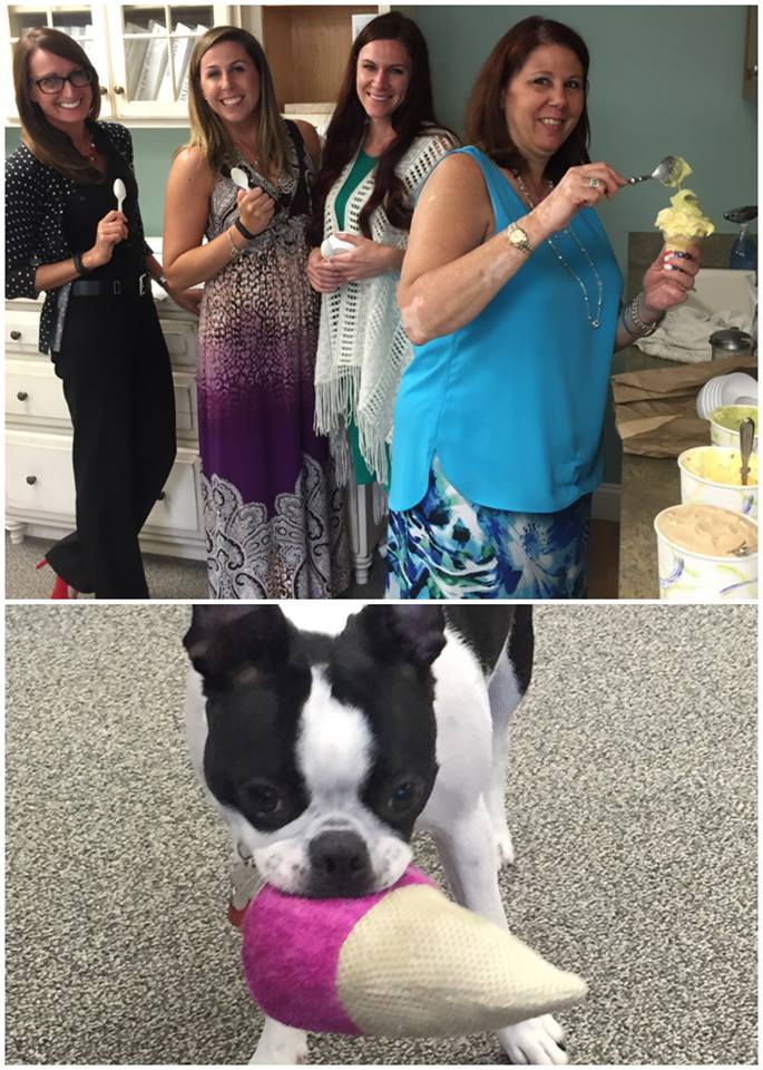 The Peter Salerno Inc. staff (and Harper the puppy!) enjoy delicious gelato.
