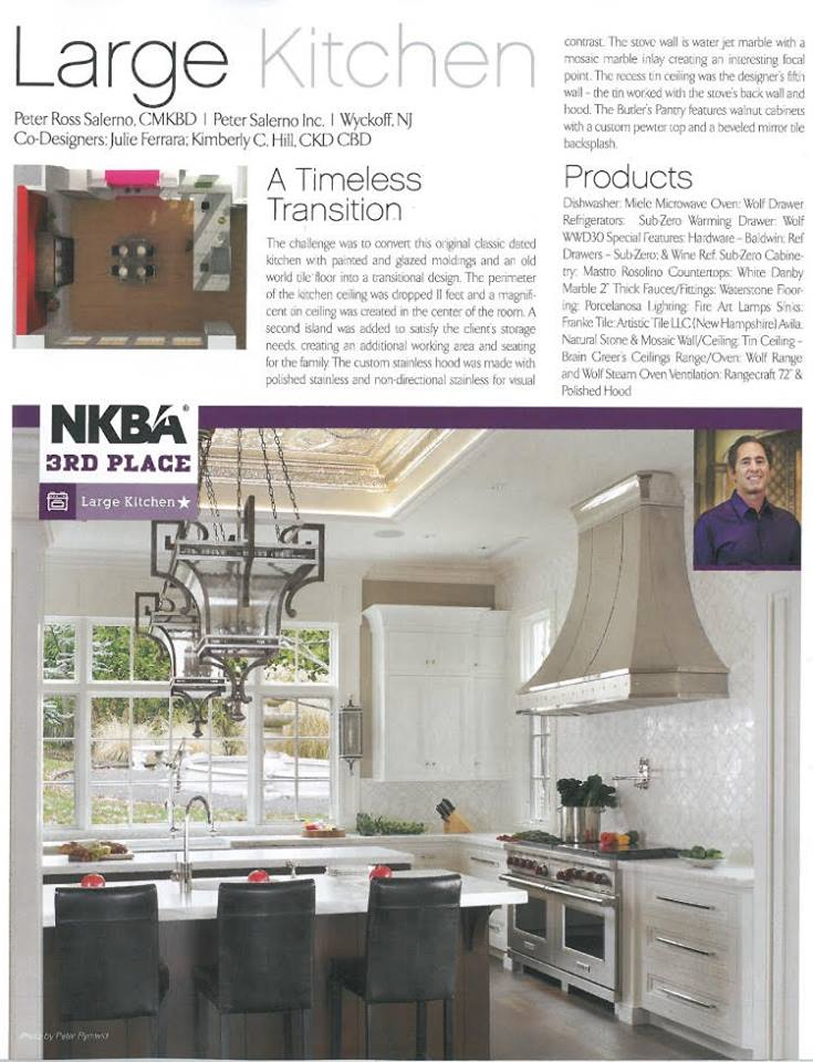 The NKBA 2016 Best Kitchens and Baths Magazine features Peter Salerno Inc.'s award-winning transitional kitchen.