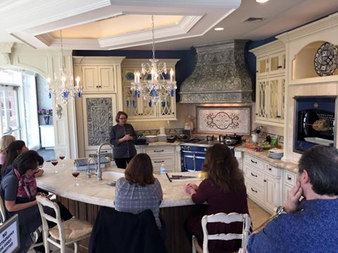 Larissa Taboryski of Purcell Murray and La Cornue hosts a cooking class at Peter Salerno Inc.'s showroom.