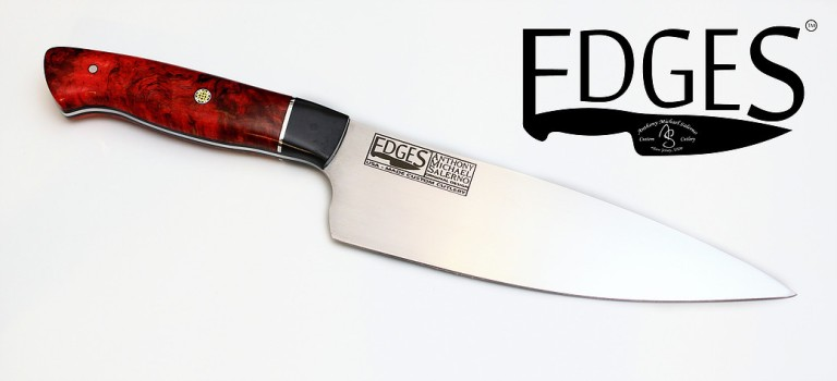 EDGES Red Monarch 03 custom cutlery knife. Credit Peter Salerno Inc.