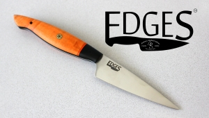 Hunter Orange Paring Knife from EDGES Custom Cutlery. Retail $275.