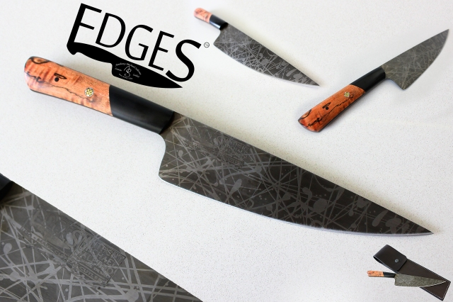 Signature Series Acid Splash High Carbon Blade from EDGES Custom Cutlery. Retail $750 (with custom leather pouch).