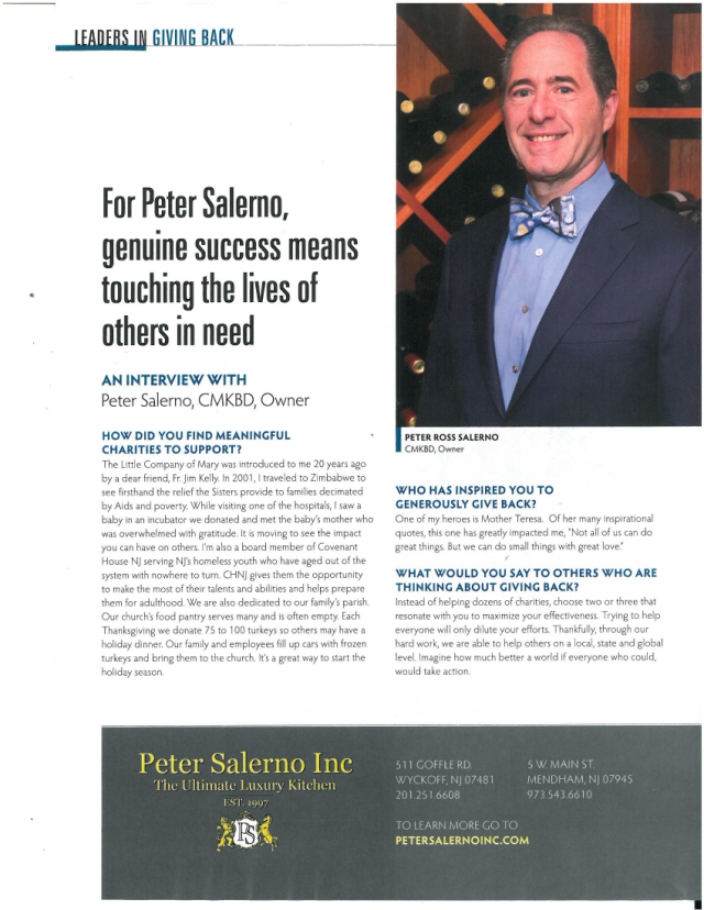 Read how Peter Salerno and Peter Salerno Inc. are giving back this Thanksgiving season.