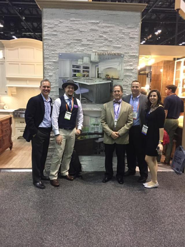 Anthony, Gabrielle and Peter Salerno with Teddwood under a Peter Salerno Inc. design photo.