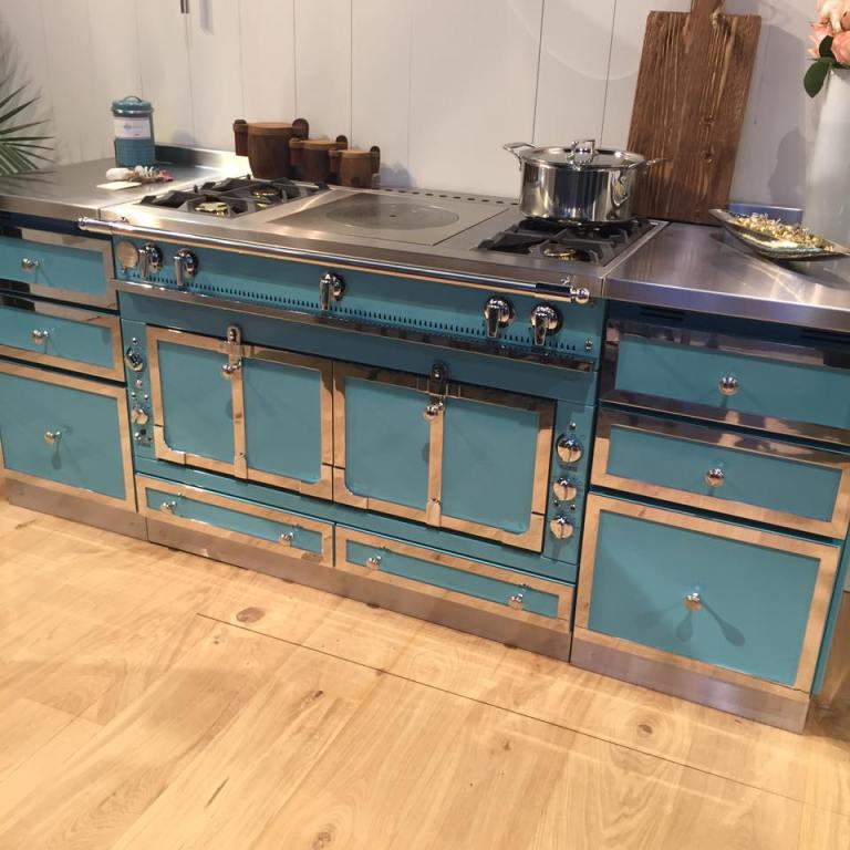 The stunning blue La Cornue display range at the KBIS 2017 Conference.