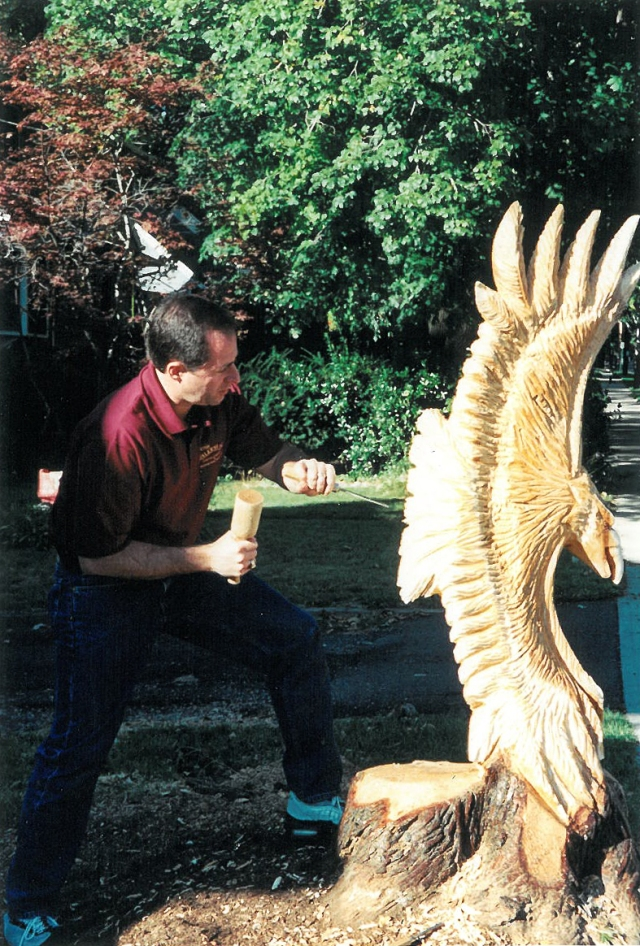 Peter Salerno hard at work in 1997 carving an eagle.