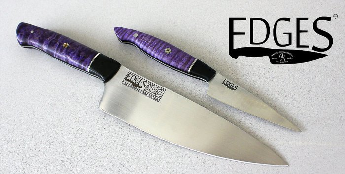 """EDGES Custom Cutlery 8"""" Chef and 4"""" Paring Knife Prince Tribute Set."""