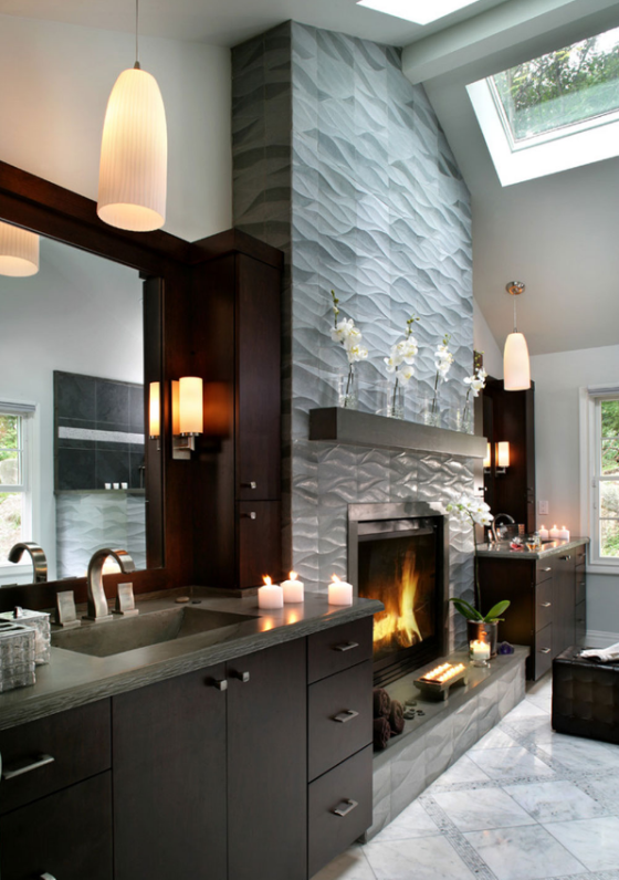 A beautiful modern fireplace tile design by Peter Salerno Inc., featured by Impressive Interior Designs.