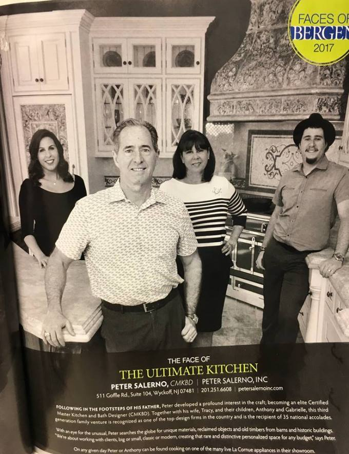 "Peter Salerno and his family featured in Bergen Magazine: ""The Ultimate Kitchen""."