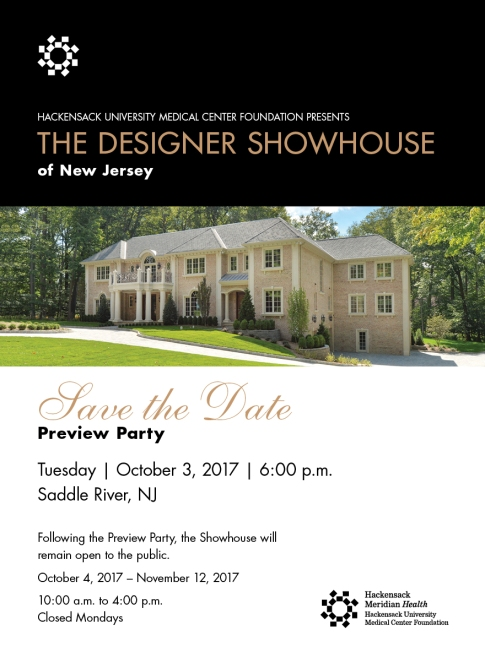 The 2017 Designer Showhouse of New Jersey opens October 3, 2017.