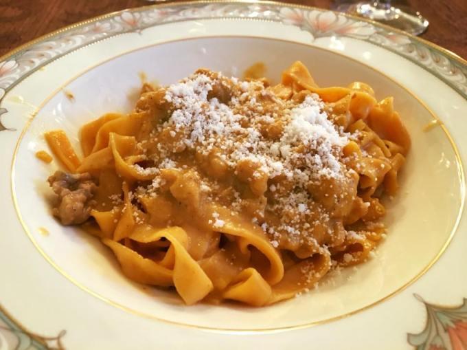 Peter Salerno's pumpkin fettucine with creamy sausage sauce.