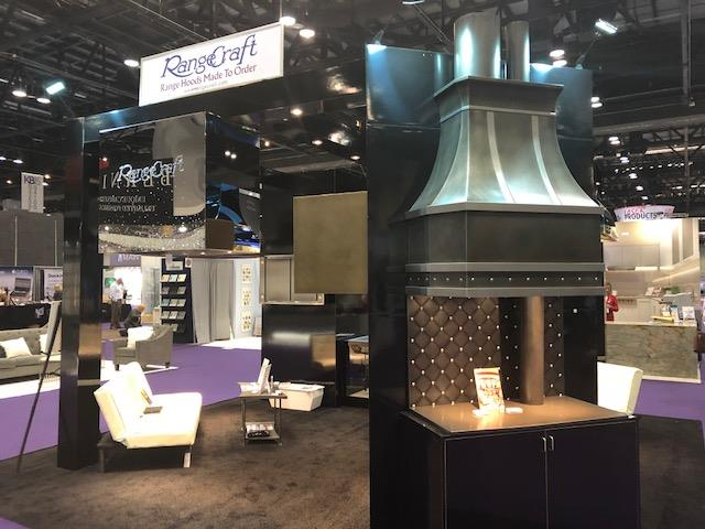 The gorgeous RangeCraft custom range hood exhibit at KBIS 2018.