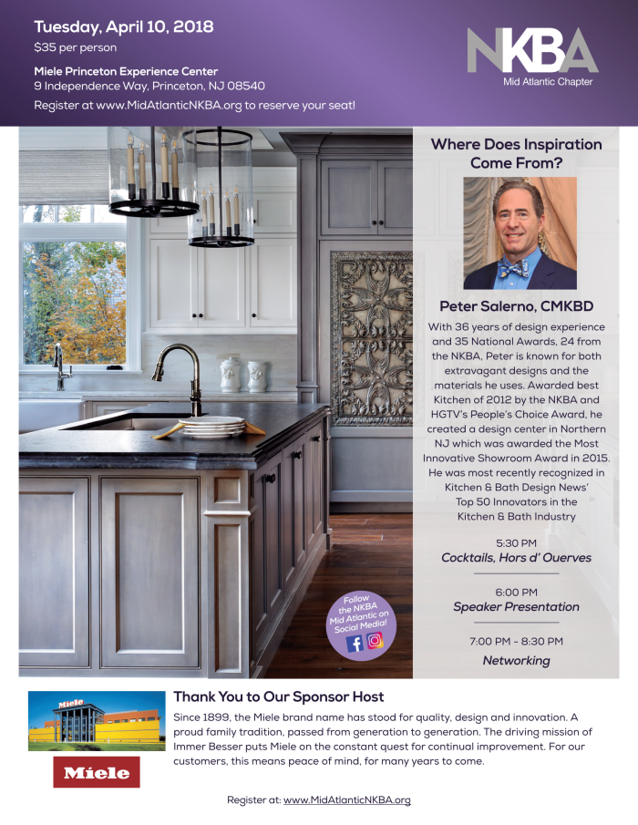 Register for NKBA Mid Atlantic's April 10th Miele event in Princeton, NJ, featuring Peter Salerno!