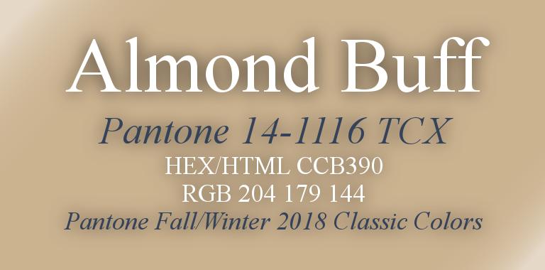 Almond Buff Pantone Fall/Winter 2018 Classic Color HTML Hex RGB