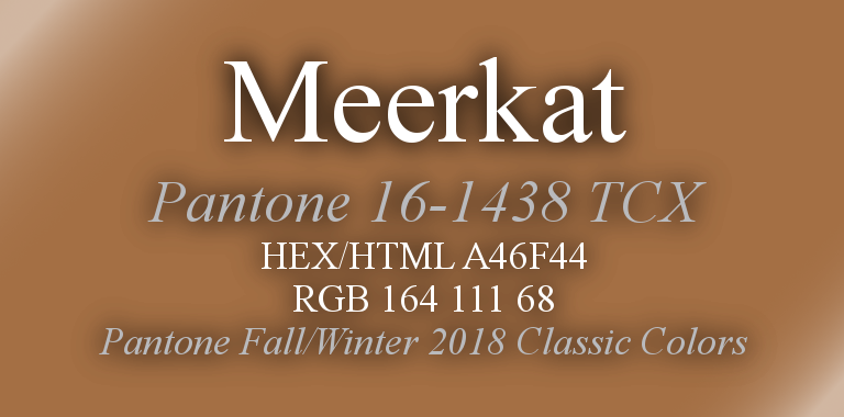 Meerkat Pantone Fall/Winter 2018 Classic Color HTML Hex RGB