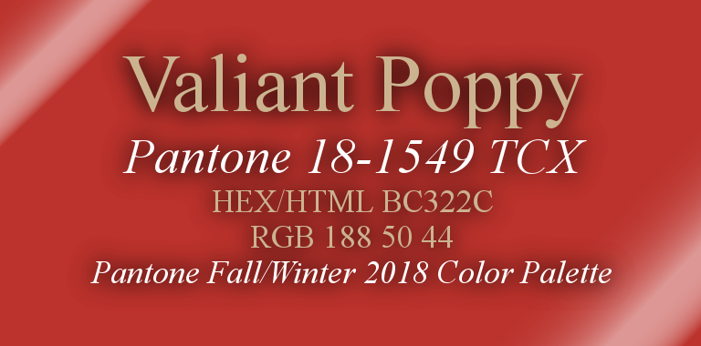 Valiant Poppy Pantone Fall/Winter 2018