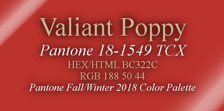 Valiant Poppy Pantone Fall/Winter 2018