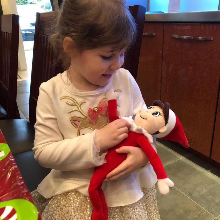Peter Salerno's granddaughter, Jesse, playing with Elliot the Elf on a Shelf!