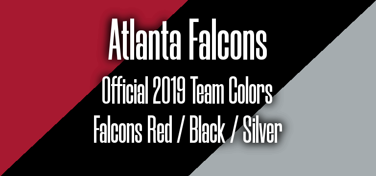 Official 2019 NFL Team Pantone color codes:  Atlanta Falcons