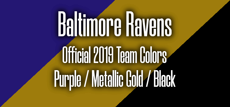 Official 2019 NFL Team Pantone color codes:  Baltimore Ravens