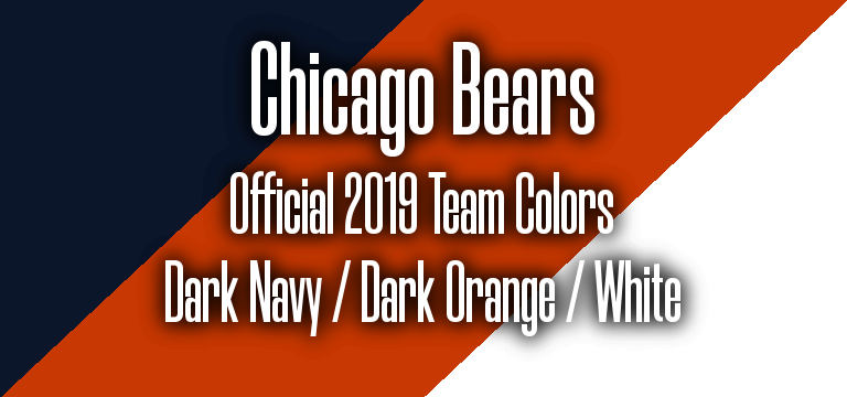 Official 2019 NFL Team Pantone color codes: Chicago Bears